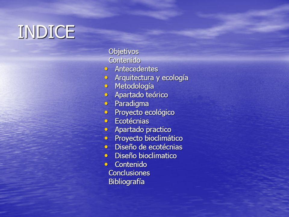INDICE Objetivos Contenido Antecedentes Arquitectura y ecología