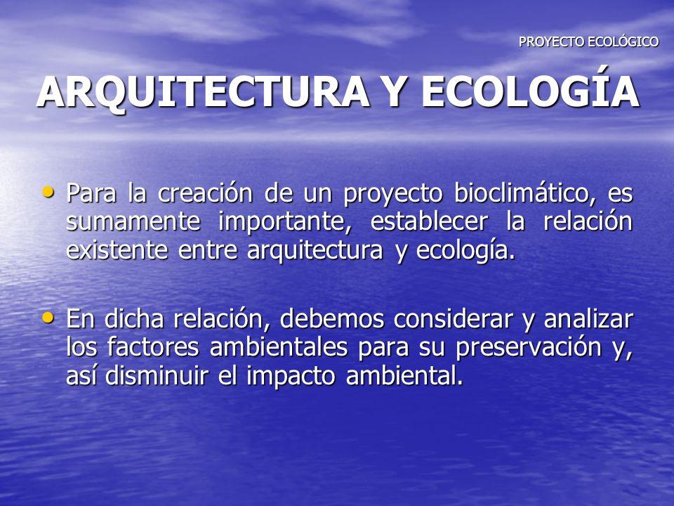 PROYECTO ECOLÓGICO ARQUITECTURA Y ECOLOGÍA