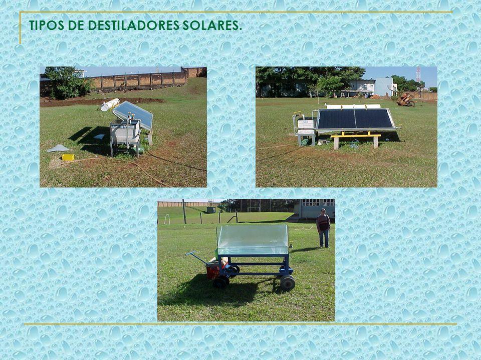 TIPOS DE DESTILADORES SOLARES.