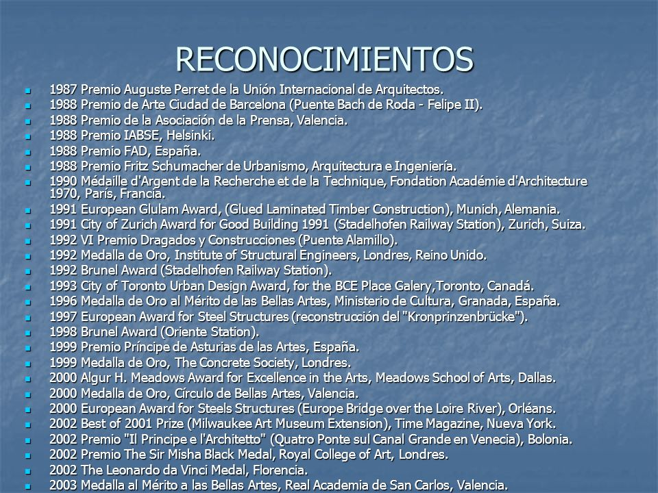 RECONOCIMIENTOS 1987 Premio Auguste Perret de la Unión Internacional de Arquitectos.