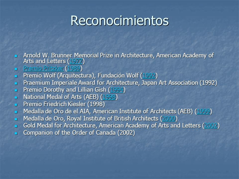 Reconocimientos Arnold W. Brunner Memorial Prize in Architecture, American Academy of Arts and Letters (1977)