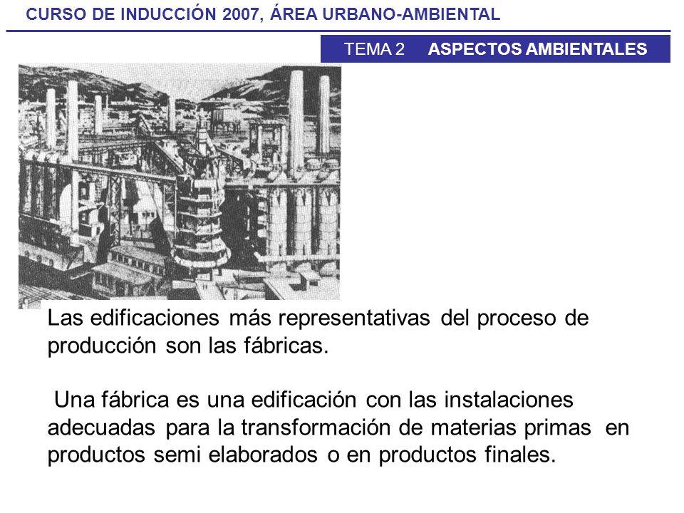 Las edificaciones más representativas del proceso de producción son las fábricas.