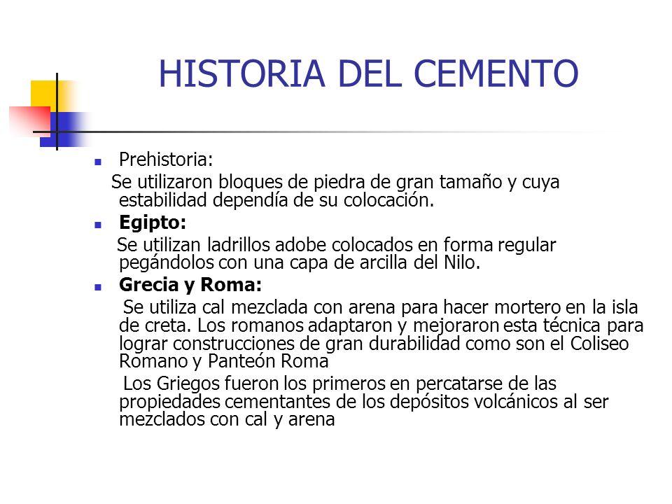 HISTORIA DEL CEMENTO Prehistoria: