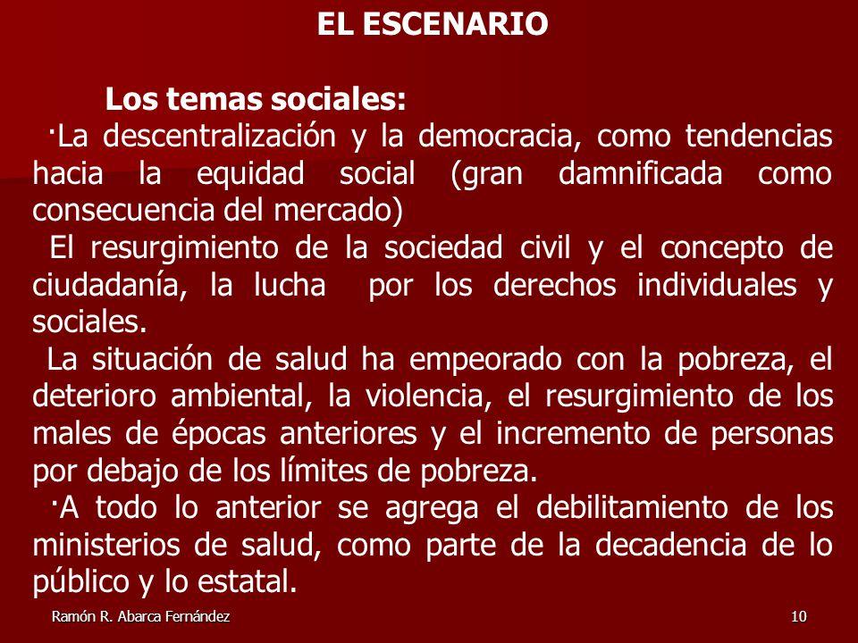 EL ESCENARIO Los temas sociales: