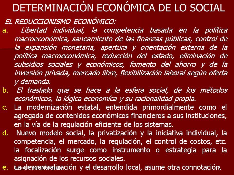 DETERMINACIÓN ECONÓMICA DE LO SOCIAL