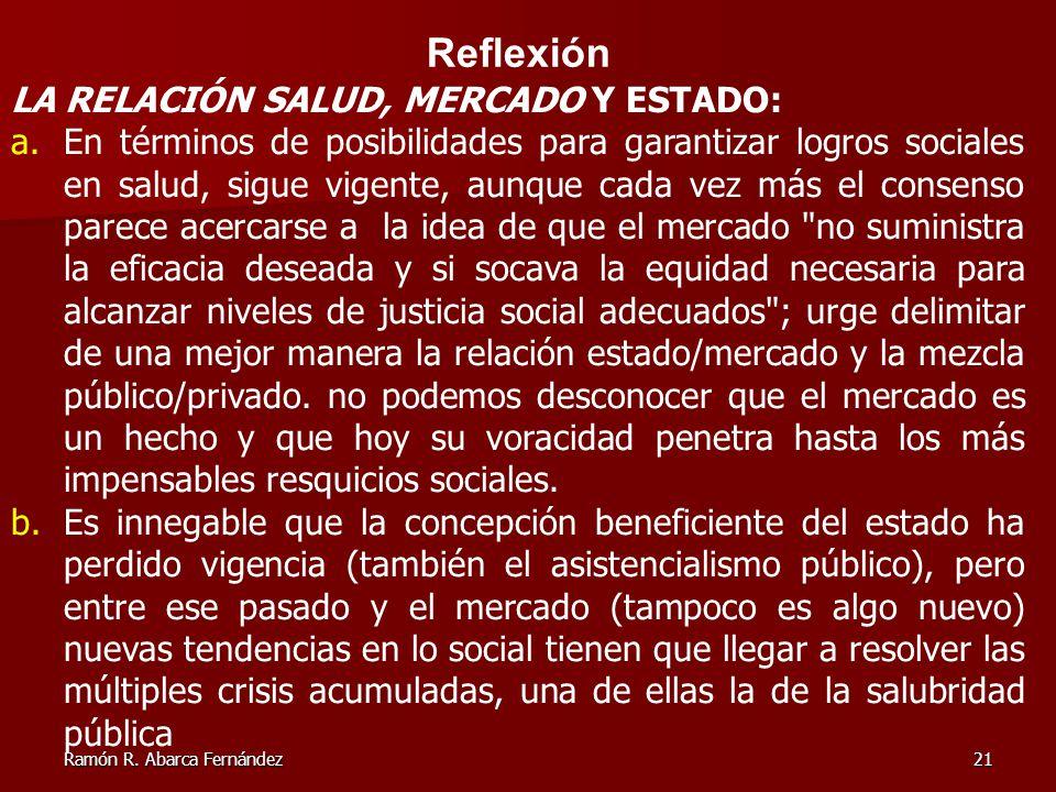 Reflexión LA RELACIÓN SALUD, MERCADO Y ESTADO: