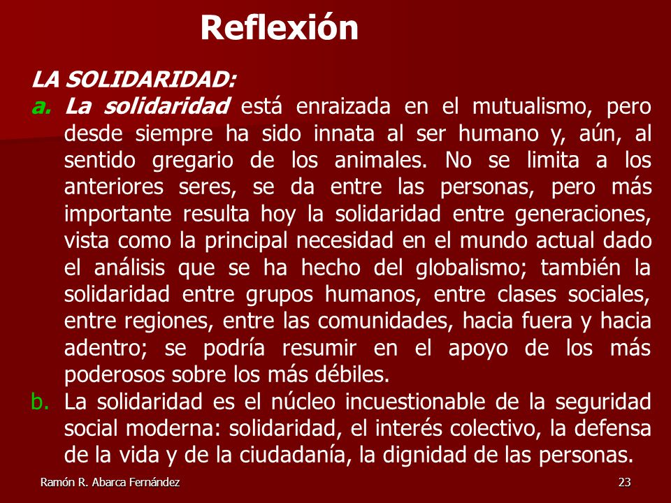 Reflexión LA SOLIDARIDAD: