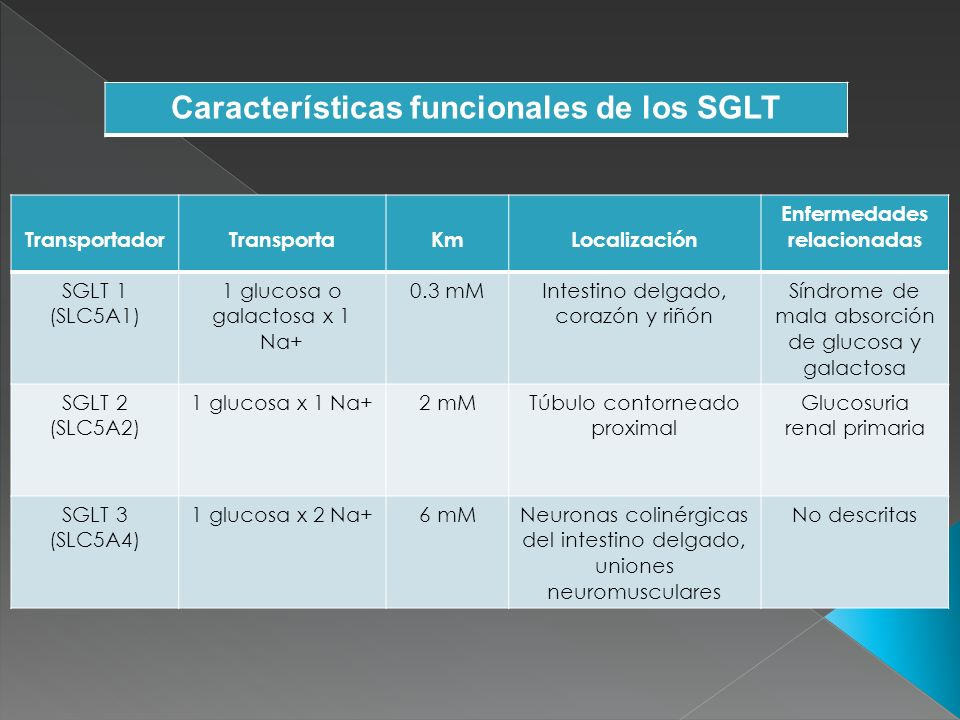 Características funcionales de los SGLT Enfermedades relacionadas