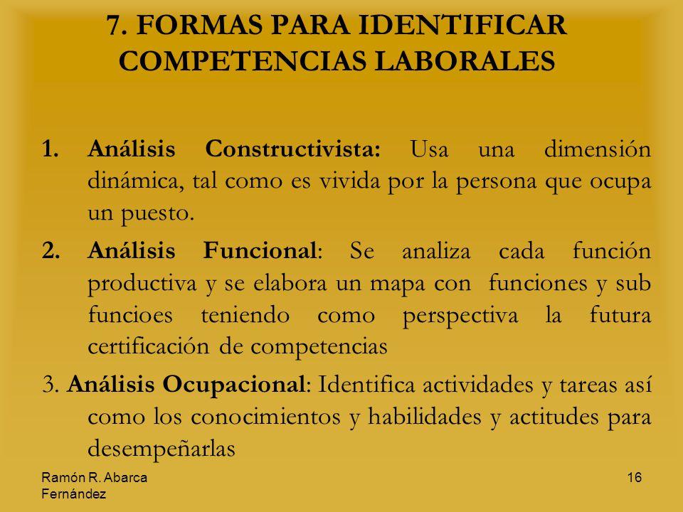 7. FORMAS PARA IDENTIFICAR COMPETENCIAS LABORALES