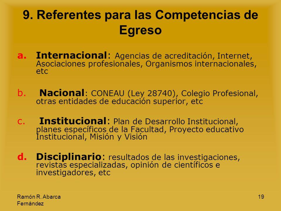 9. Referentes para las Competencias de Egreso