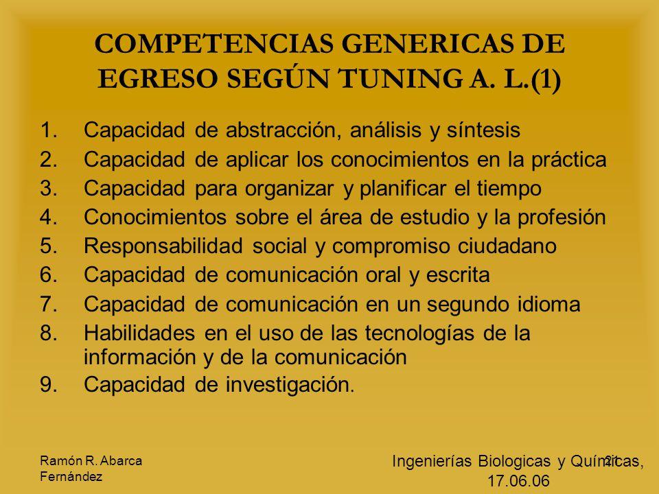 COMPETENCIAS GENERICAS DE EGRESO SEGÚN TUNING A. L.(1)