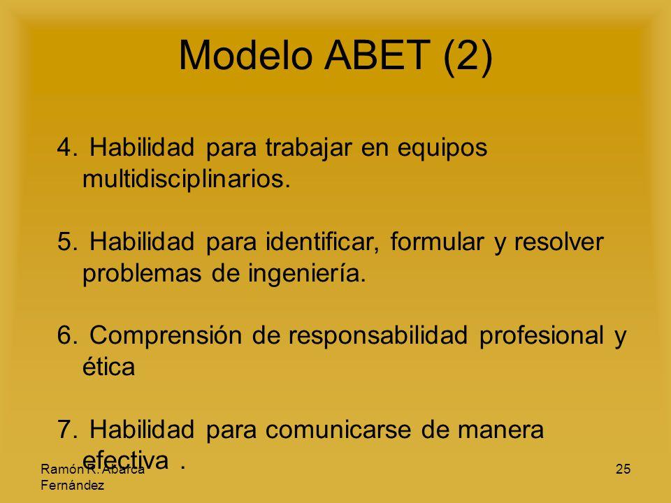Modelo ABET (2) Habilidad para trabajar en equipos multidisciplinarios. Habilidad para identificar, formular y resolver problemas de ingeniería.