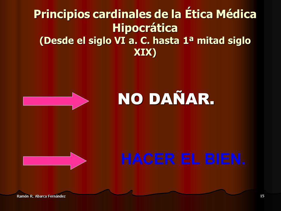 Principios cardinales de la Ética Médica Hipocrática (Desde el siglo VI a. C. hasta 1ª mitad siglo XIX)