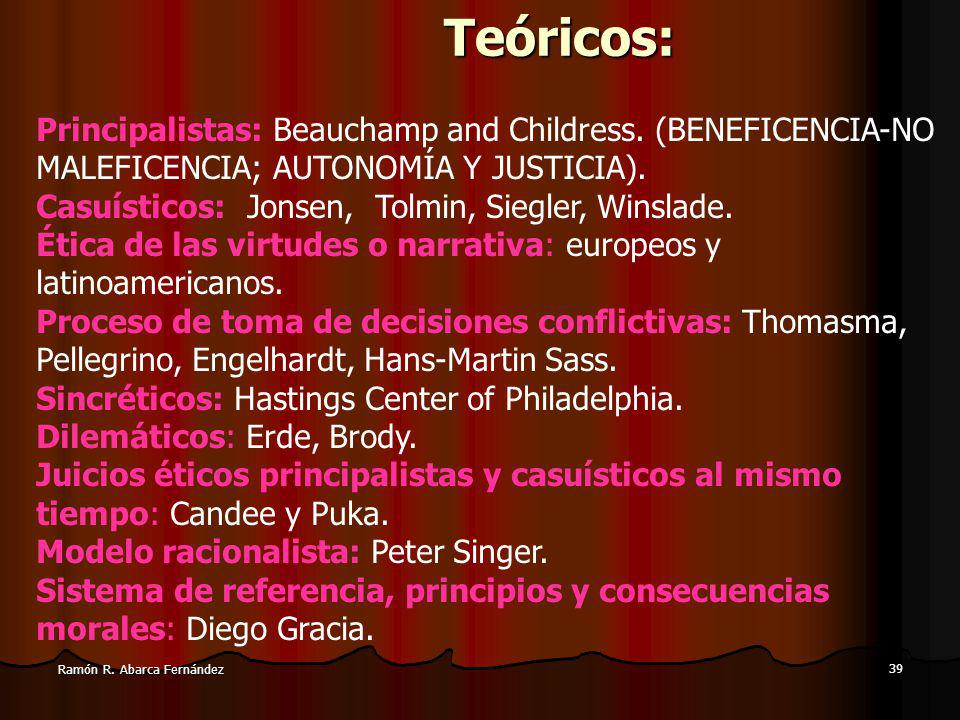 Teóricos: Principalistas: Beauchamp and Childress. (BENEFICENCIA-NO MALEFICENCIA; AUTONOMÍA Y JUSTICIA).