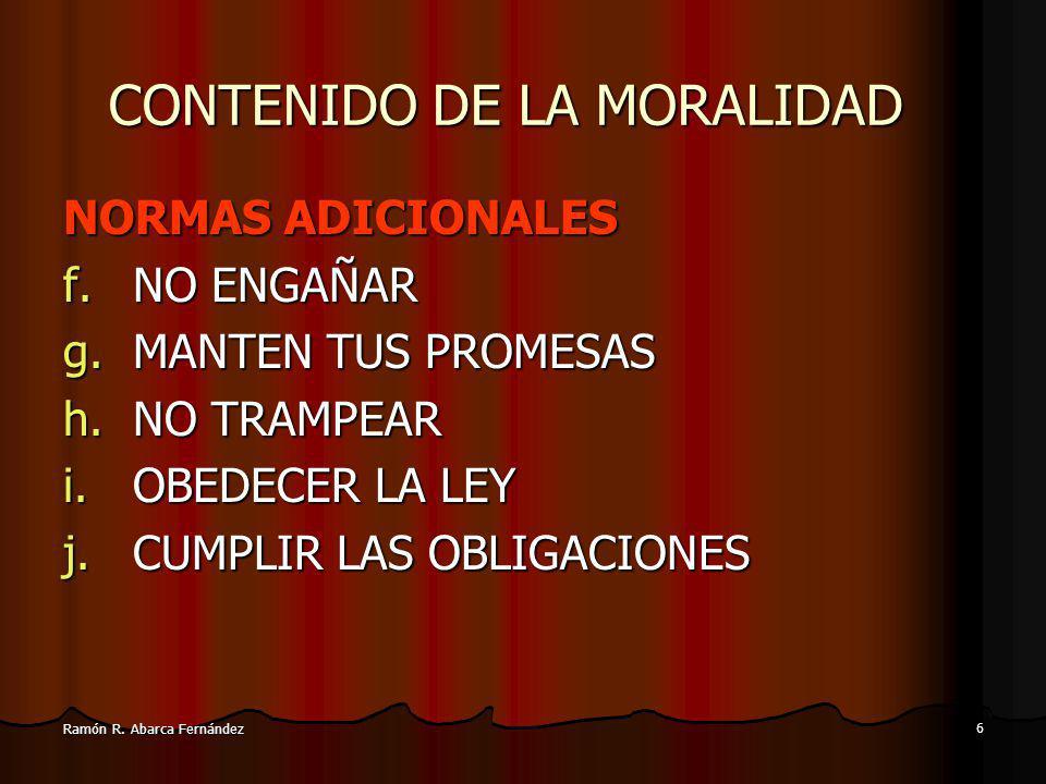 CONTENIDO DE LA MORALIDAD
