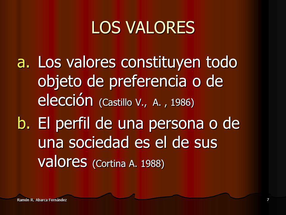 LOS VALORES Los valores constituyen todo objeto de preferencia o de elección (Castillo V., A. , 1986)