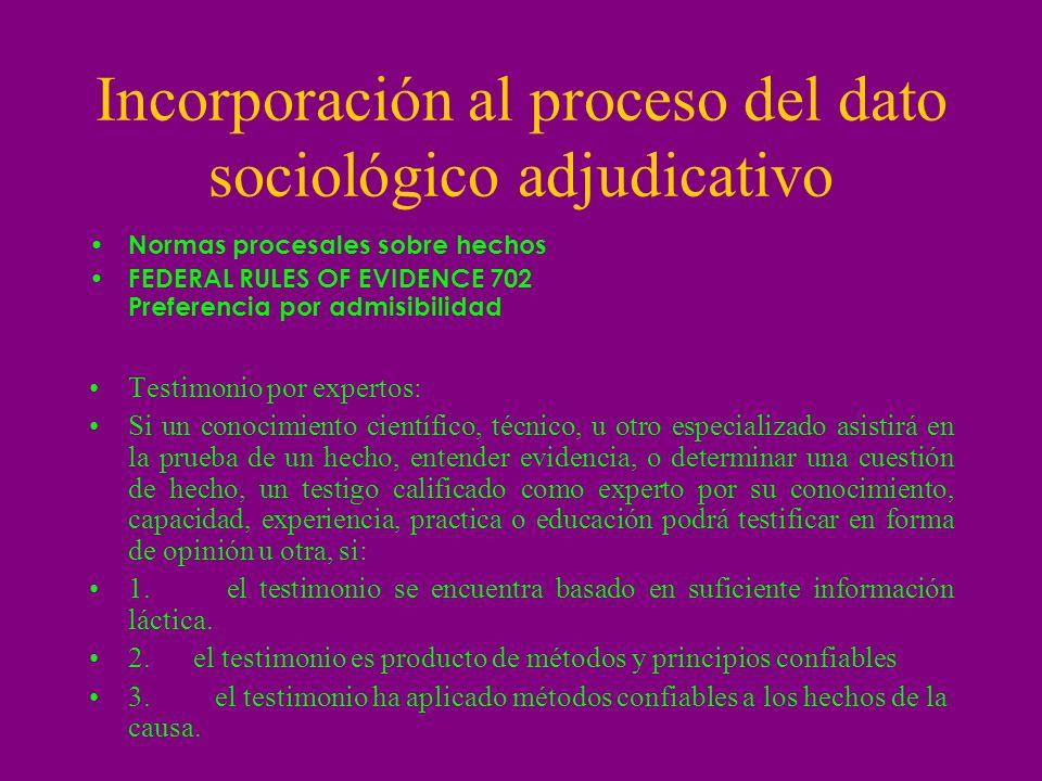 Incorporación al proceso del dato sociológico adjudicativo