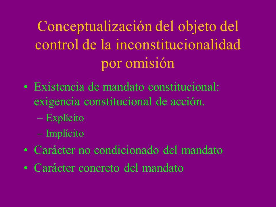Conceptualización del objeto del control de la inconstitucionalidad por omisión