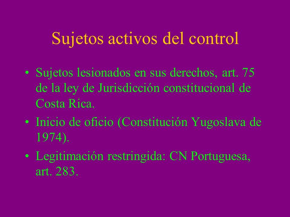 Sujetos activos del control