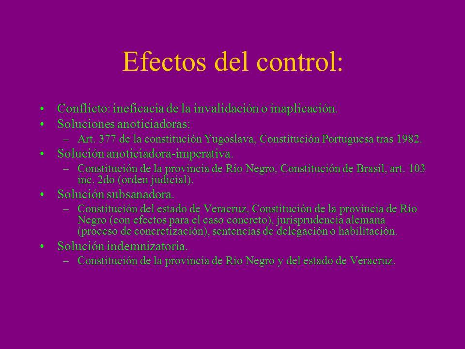 Efectos del control: Conflicto: ineficacia de la invalidación o inaplicación. Soluciones anoticiadoras: