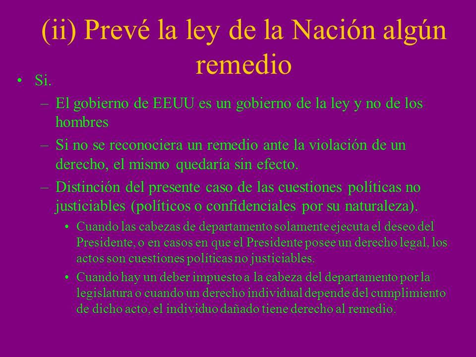 (ii) Prevé la ley de la Nación algún remedio