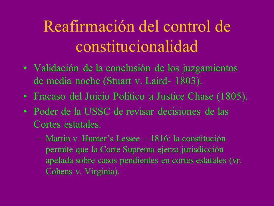 Reafirmación del control de constitucionalidad