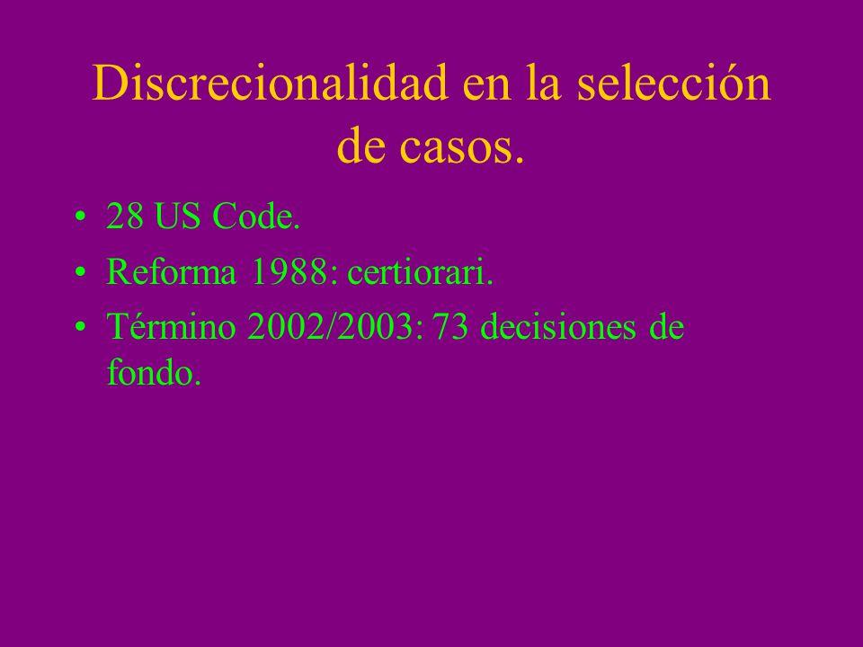 Discrecionalidad en la selección de casos.