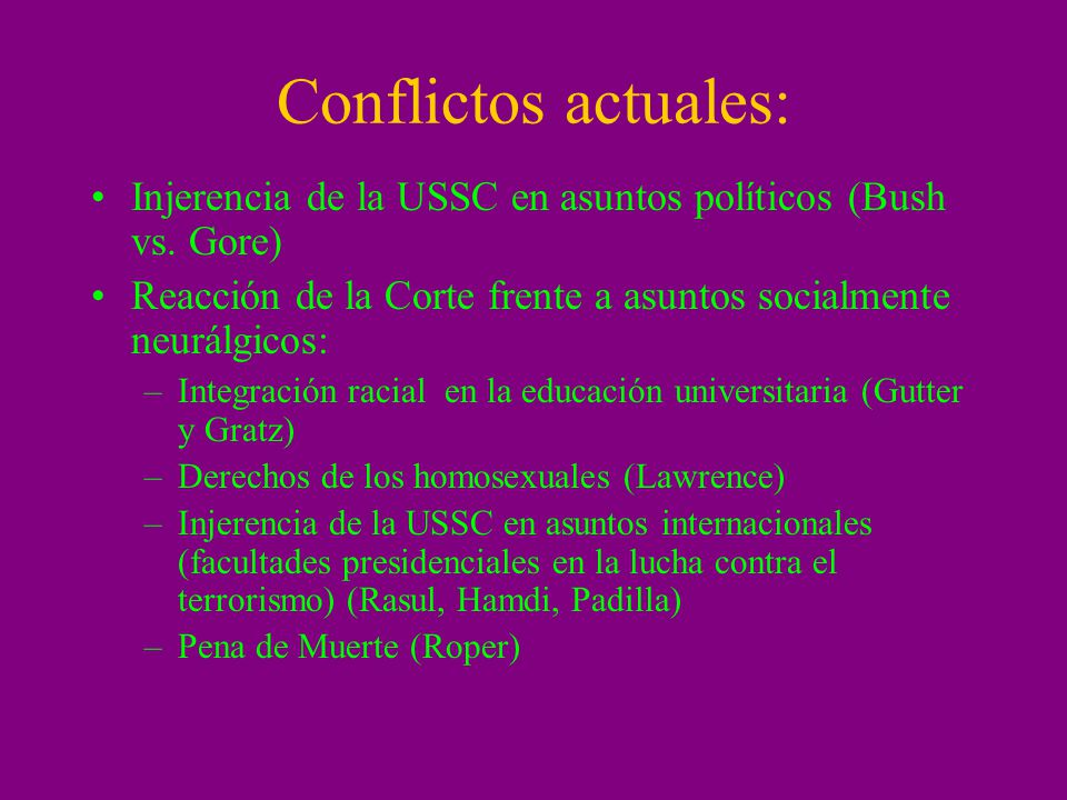 Conflictos actuales: Injerencia de la USSC en asuntos políticos (Bush vs. Gore) Reacción de la Corte frente a asuntos socialmente neurálgicos: