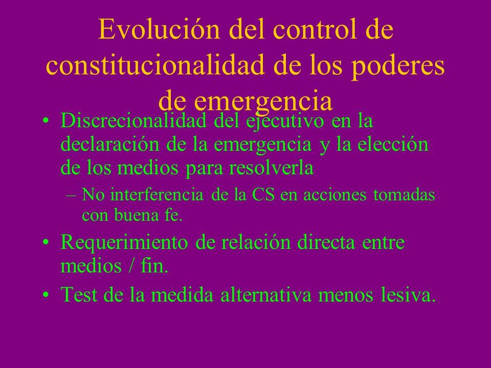 Evolución del control de constitucionalidad de los poderes de emergencia