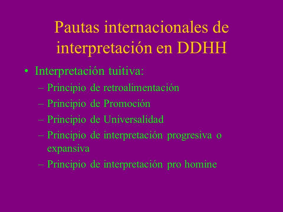 Pautas internacionales de interpretación en DDHH