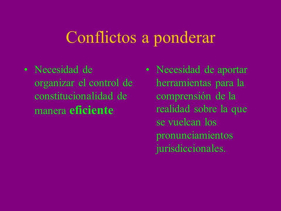 Conflictos a ponderar Necesidad de organizar el control de constitucionalidad de manera eficiente.