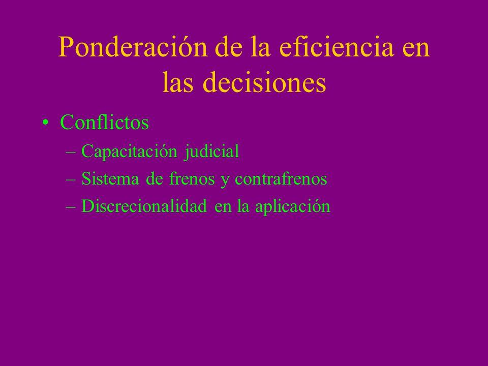 Ponderación de la eficiencia en las decisiones
