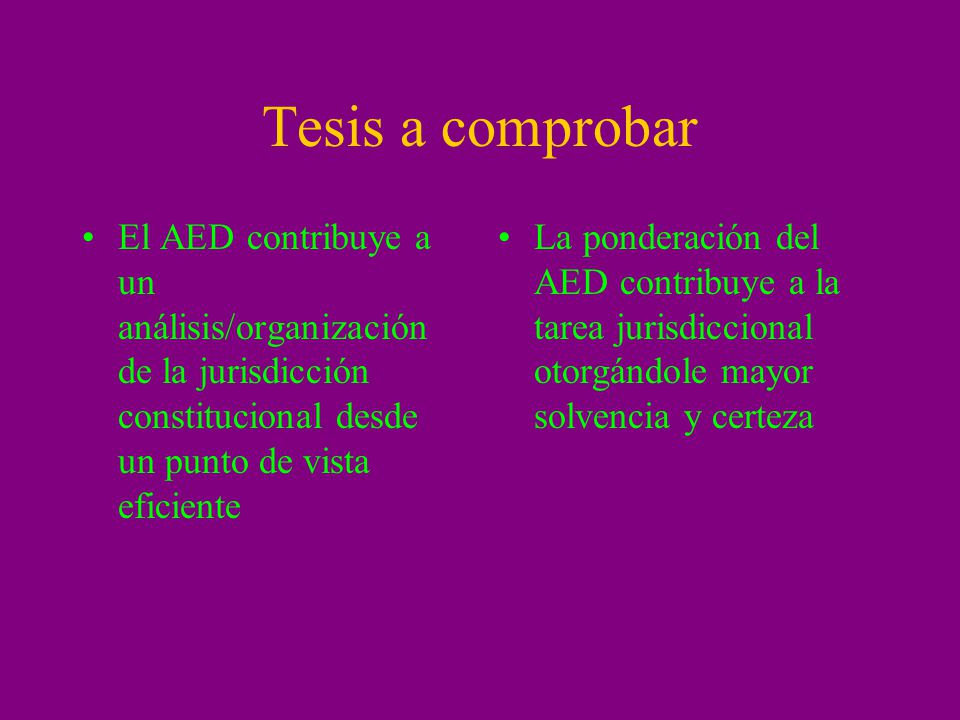Tesis a comprobar El AED contribuye a un análisis/organización de la jurisdicción constitucional desde un punto de vista eficiente.