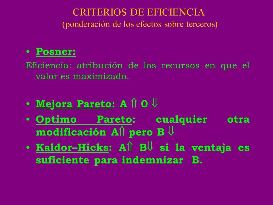 CRITERIOS DE EFICIENCIA (ponderación de los efectos sobre terceros)