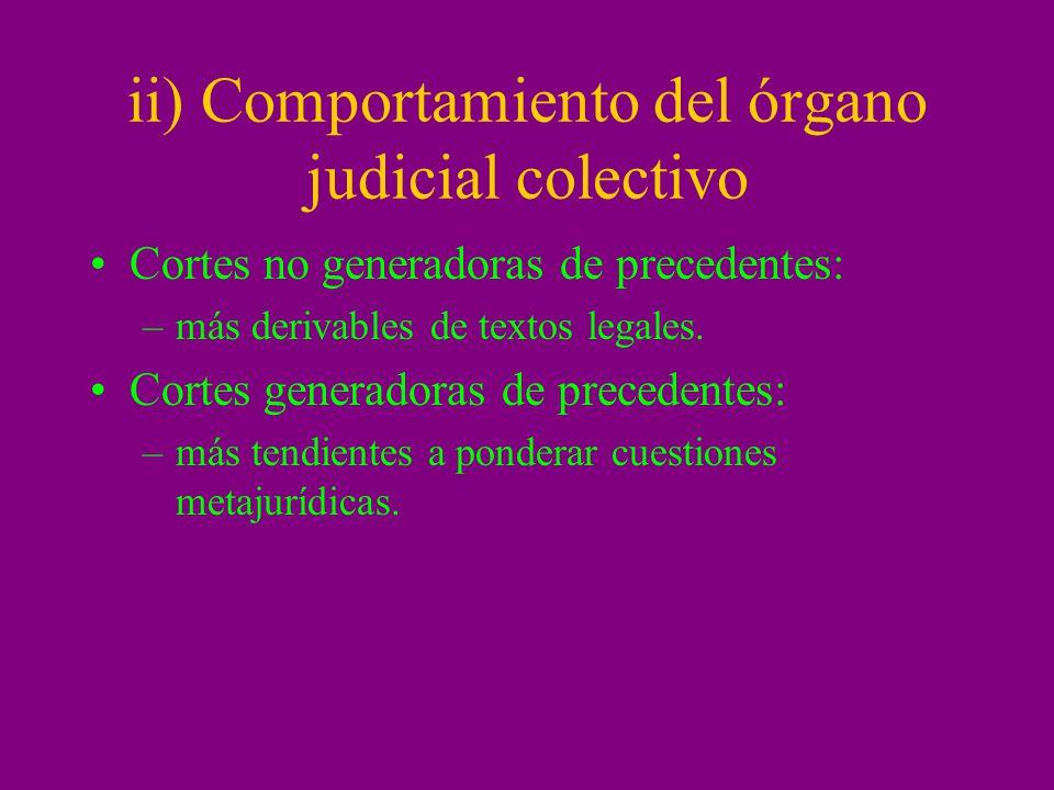 ii) Comportamiento del órgano judicial colectivo