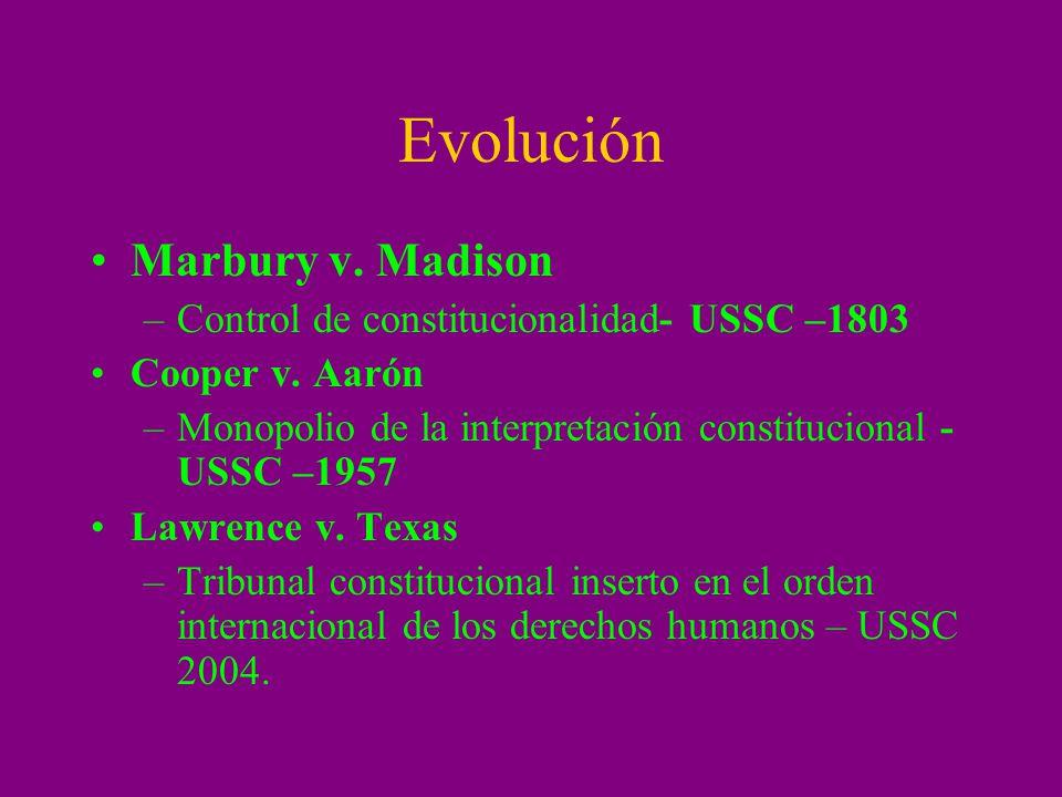 Evolución Marbury v. Madison Control de constitucionalidad- USSC –1803
