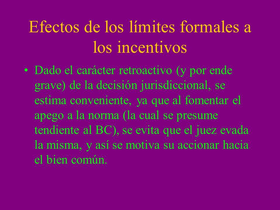 Efectos de los límites formales a los incentivos