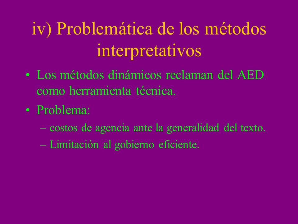 iv) Problemática de los métodos interpretativos