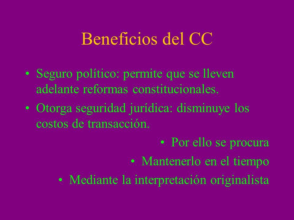 Beneficios del CC Seguro político: permite que se lleven adelante reformas constitucionales.