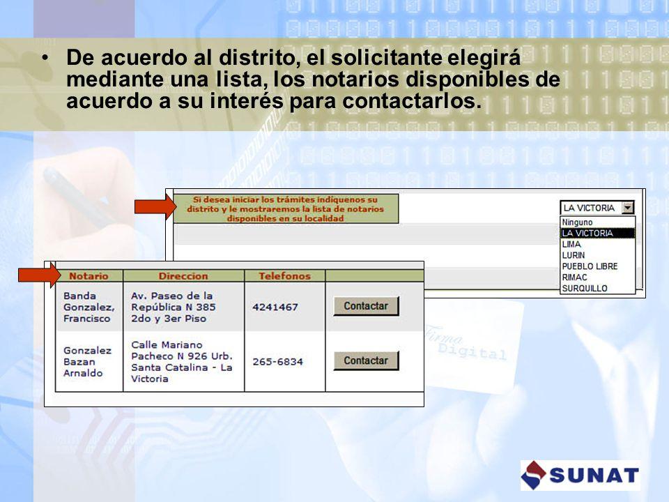 De acuerdo al distrito, el solicitante elegirá mediante una lista, los notarios disponibles de acuerdo a su interés para contactarlos.