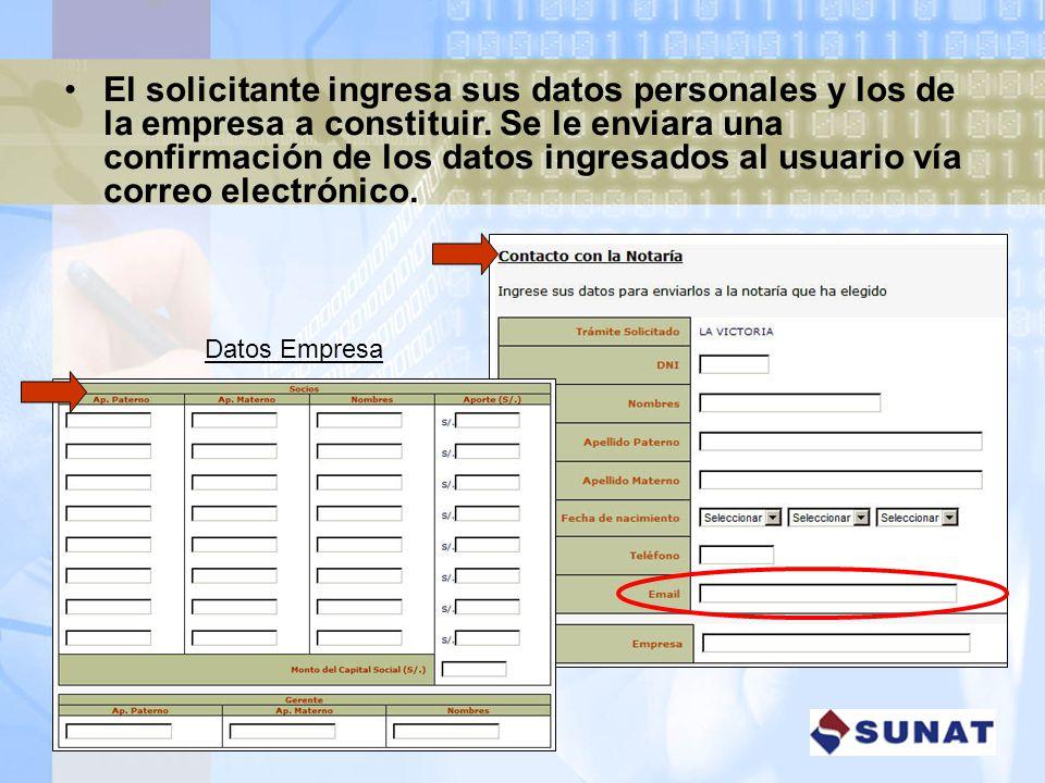 El solicitante ingresa sus datos personales y los de la empresa a constituir. Se le enviara una confirmación de los datos ingresados al usuario vía correo electrónico.
