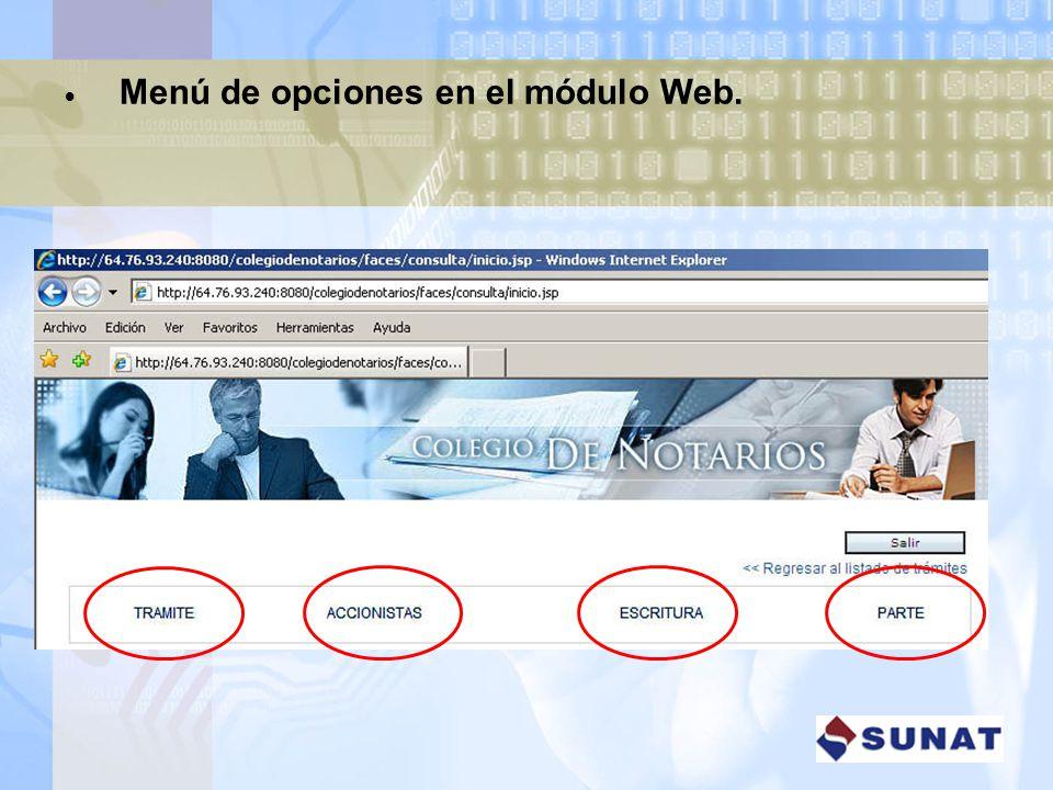 Menú de opciones en el módulo Web.