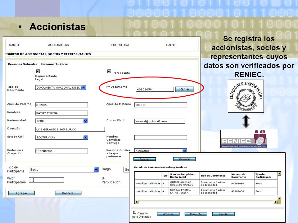 Accionistas Se registra los accionistas, socios y representantes cuyos datos son verificados por RENIEC.