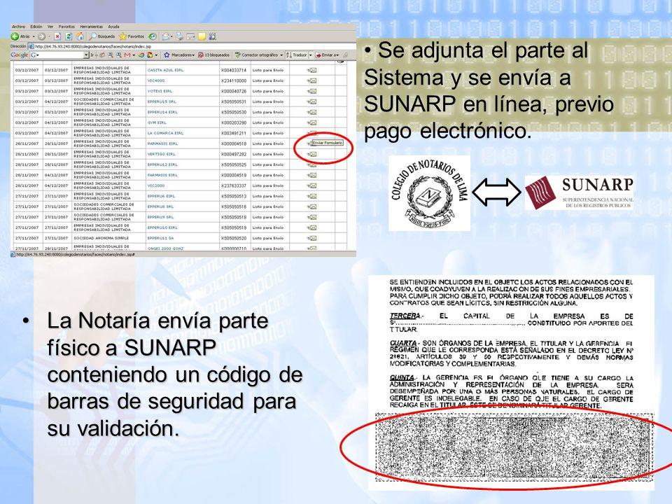 Se adjunta el parte al Sistema y se envía a SUNARP en línea, previo pago electrónico.