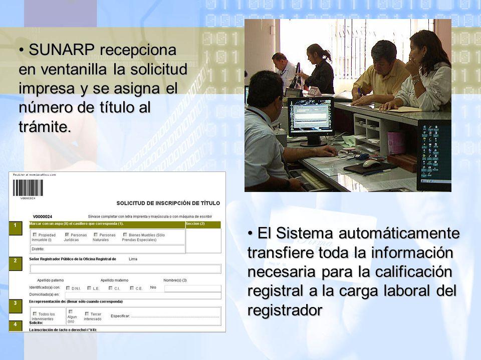 SUNARP recepciona en ventanilla la solicitud impresa y se asigna el número de título al trámite.