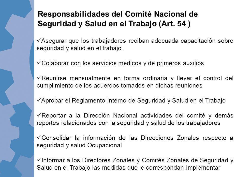 Responsabilidades del Comité Nacional de Seguridad y Salud en el Trabajo (Art. 54 )