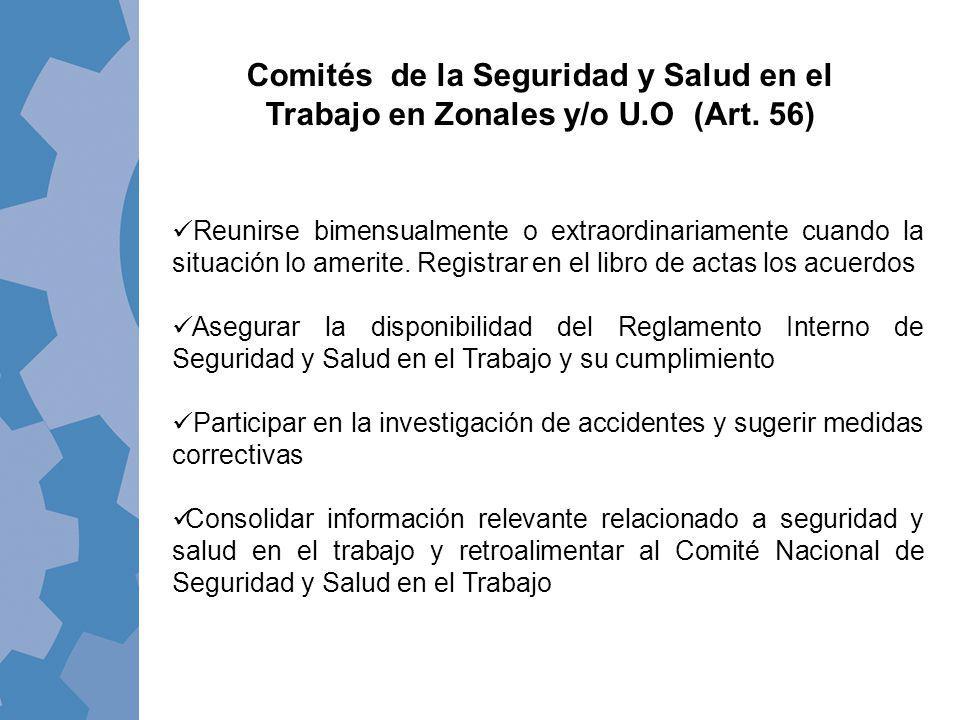Comités de la Seguridad y Salud en el Trabajo en Zonales y/o U. O (Art