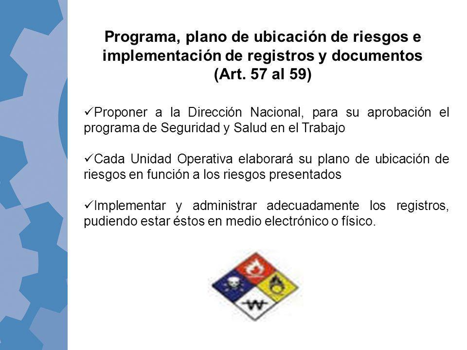 Programa, plano de ubicación de riesgos e implementación de registros y documentos (Art. 57 al 59)