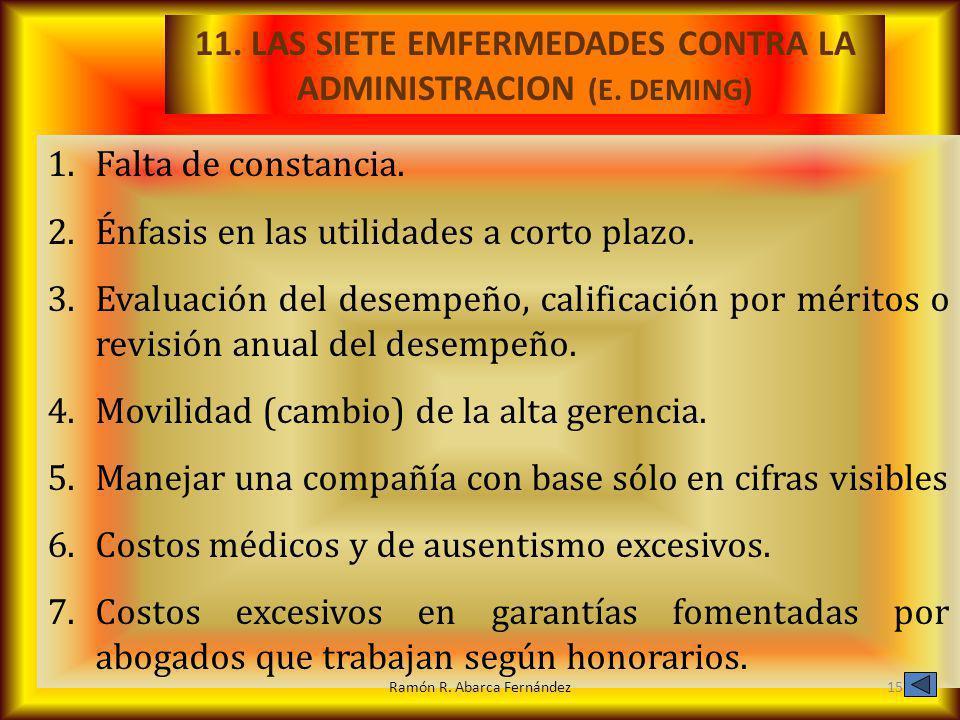 11. LAS SIETE EMFERMEDADES CONTRA LA ADMINISTRACION (E. DEMING)