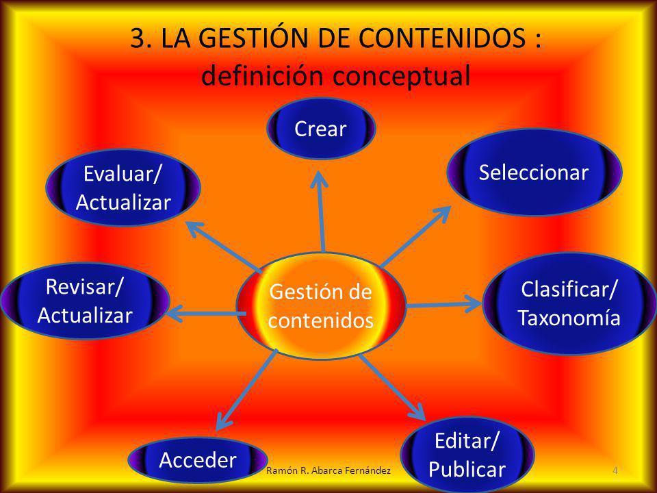 3. LA GESTIÓN DE CONTENIDOS : definición conceptual
